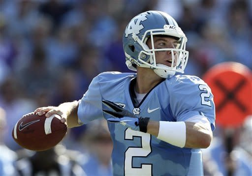 North Carolina quarterback Bryn Renner (2) looks to pass against East Carolina during the first half of an NCAA college football game in Chapel Hill, N.C., Saturday, Sept. 22, 2012. (AP Photo/Gerry Broome)