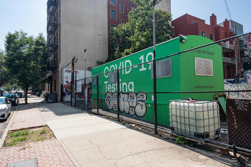 Exterior of one of Carbon Health's COVID-19 testing pop-up clinics in Brooklyn.