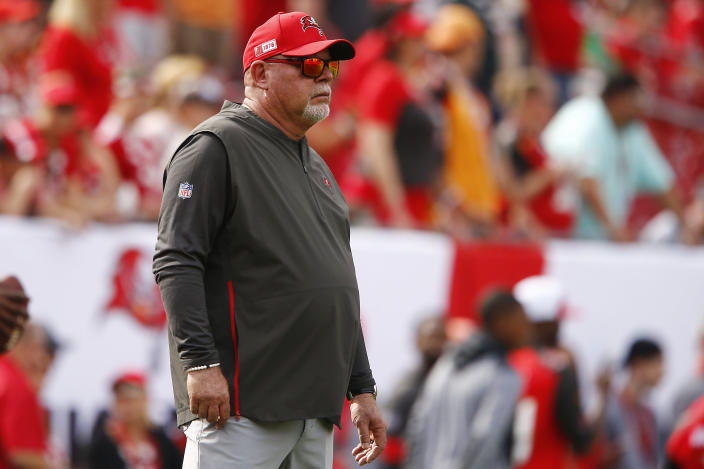 Tampa Bay Buccaneers coach Bruce Arians won't let the coronavirus pandemic keep him off the sidelines this fall. (Michael Reaves/Getty Images)