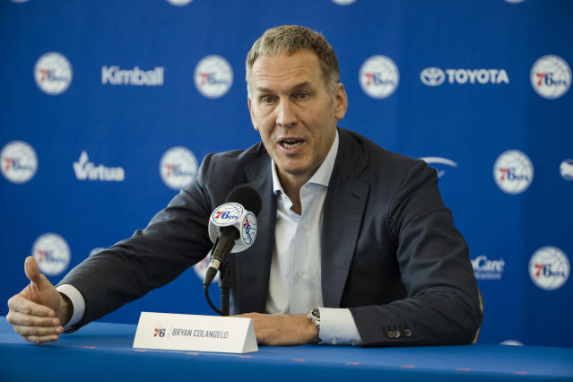 "<a class=""link rapid-noclick-resp"" href=""/nba/teams/phi"" data-ylk=""slk:Philadelphia 76ers"">Philadelphia 76ers</a> president of basketball operations Bryan Colangelo (AP)"