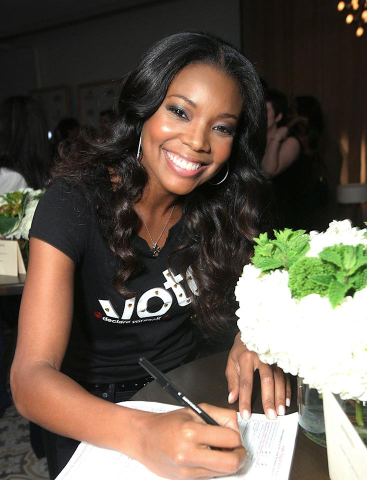 "Gabrielle Union fills out a voter registration form at the American Eagle Declare Yourself Event in West Hollywood. Celebrity-designed ""VOTE"" t-shirts were unveiled at the event. Alexandra Wyman/<a href=""http://www.wireimage.com"" target=""new"">WireImage.com</a> - May 1, 2008"