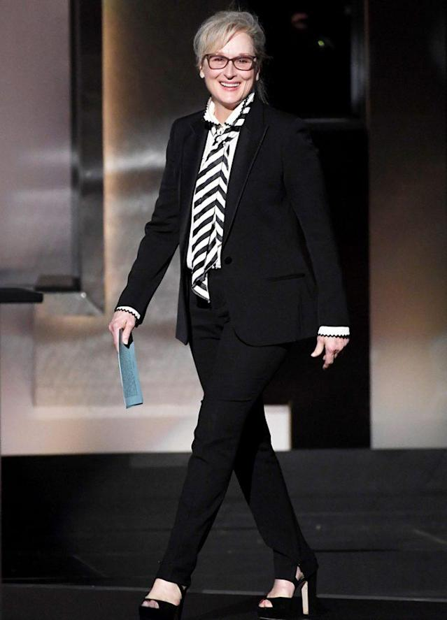Meryl Streep walks onstage to gush about her friend Diane Keaton. (Photo: Kevin Winter/Getty Images)