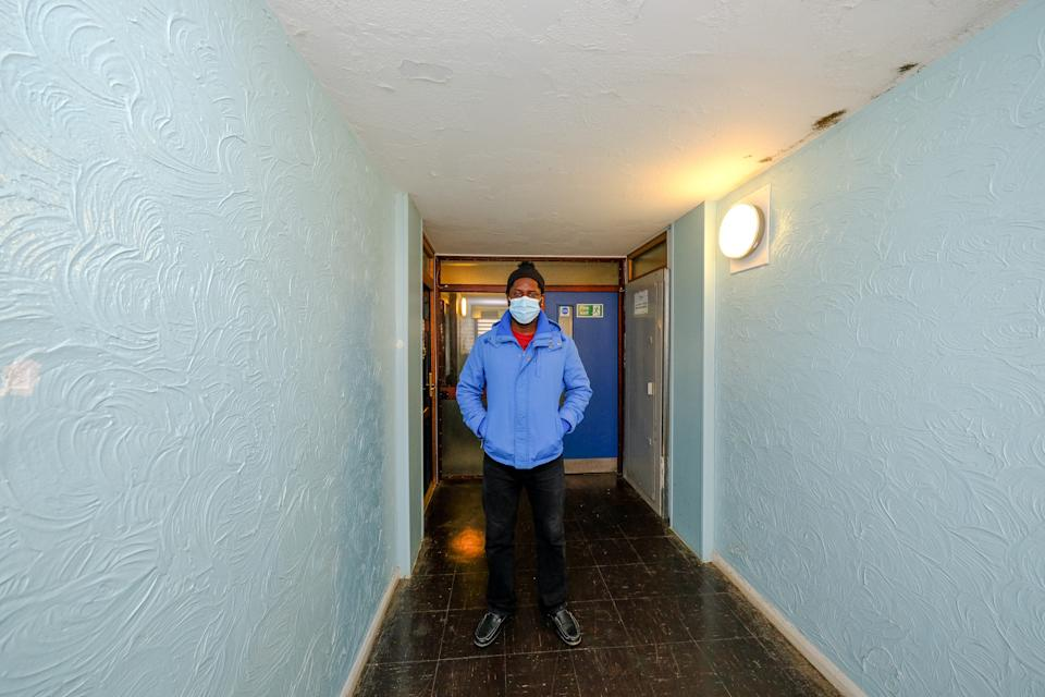 Hermon, 46, has been living alone in the tower block for six months. (SWNS)