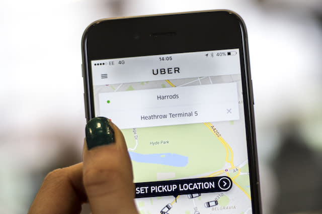 Embargoed to 0001 Thursday December 8 File photo dated 10/05/16 of a general view of the Uber app, as the company will pick up charity donations for free and deliver them to Age UK as part of a Christmas campaign, the technology firm has said.