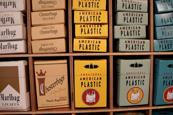 Products made entirely of plastic bags are pictured at the Plastic Bag Store