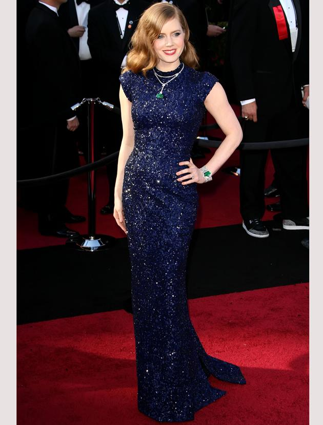 Oscars 2011 photos: Amy Adams covered up in a glittering L'Wren Scott gown.