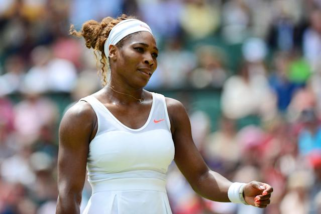 LONDON, ENGLAND - JULY 01: Serena Williams of United States of America looks dejected during her Ladies' Singles fourth round match against Sabine Lisicki of Germany on day seven of the Wimbledon Lawn Tennis Championships at the All England Lawn Tennis and Croquet Club on July 1, 2013 in London, England. (Photo by Mike Hewitt/Getty Images)