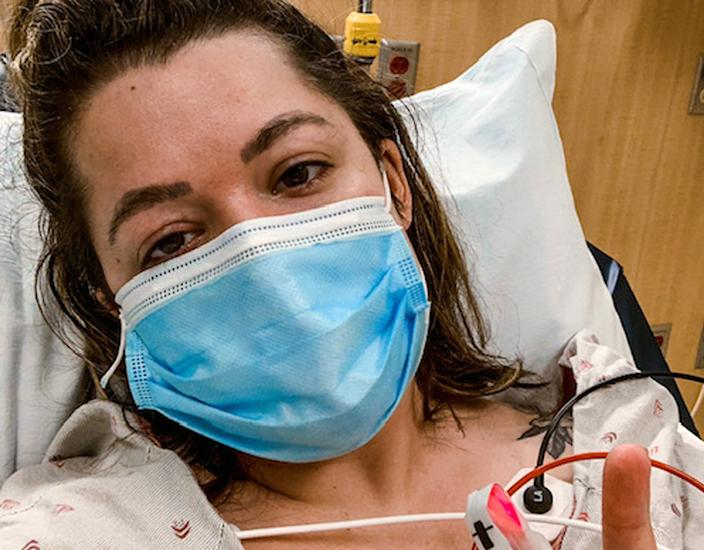 Shelby Hedgecock in a hospital bed. (Shelby Hedgecock)