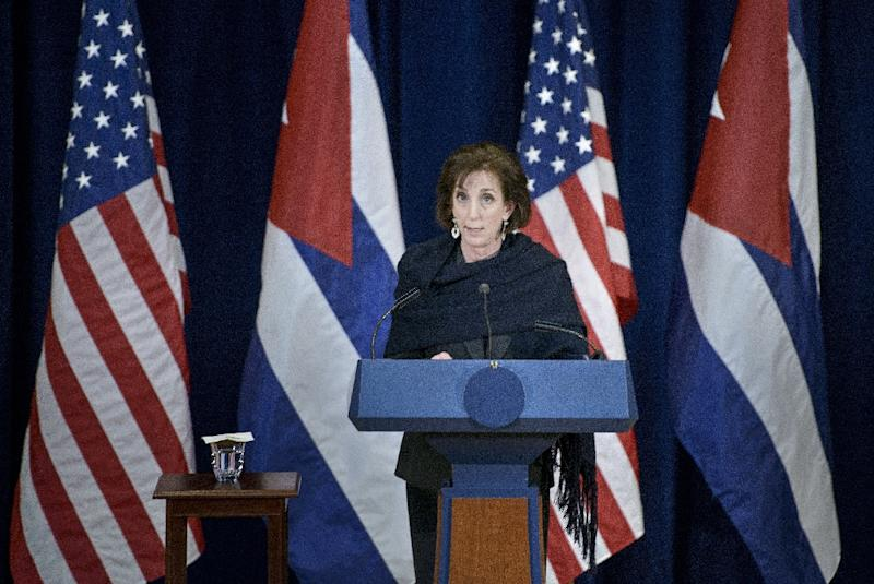 US Assistant Secretary of State for the Western Hemisphere Roberta Jacobson speaks to the press after talks with Cuba at the US State Department in Washington, DC on February 27, 2015 (AFP Photo/Brendan Smialowski)