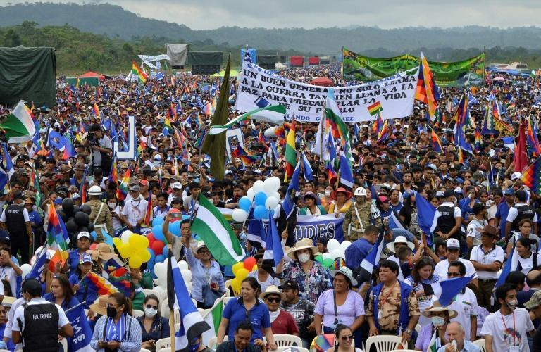 Morales supporters throng his homecoming rally in Chimore, Bolivia on November 11, 2020