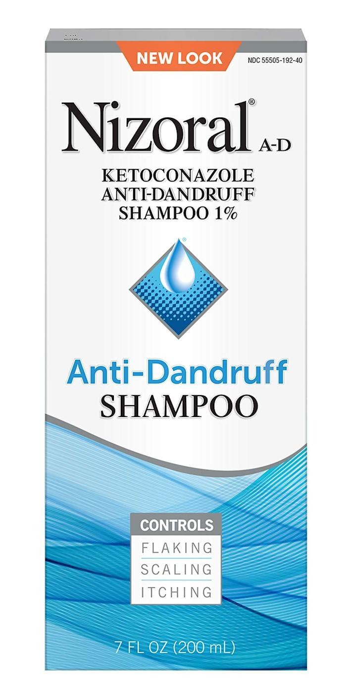 """<h3>Nizoral Anti-Dandruff Shampoo<br></h3><br><strong>Amanda</strong> <br><br>""""I read online that people have used this anti-dandruff shampoo to clear up stubborn, yeast-related breakouts on their foreheads (it sounds so gross, I know). Unsure of what's been causing the persistent pimples on my own forehead throughout these past few months of lockdown, I decided to give this a try myself and I couldn't believe how quickly it cleared my skin up.""""<br><br><strong>Nizoral</strong> A-D Anti-Dandruff Shampoo, 7 Fl. Oz, $, available at <a href=""""https://amzn.to/3s3YoXz"""" rel=""""nofollow noopener"""" target=""""_blank"""" data-ylk=""""slk:Amazon"""" class=""""link rapid-noclick-resp"""">Amazon</a>"""