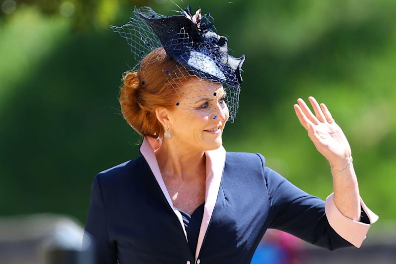 Sarah, Duchess of York arrives at St George's Chapel at Windsor Castle before the wedding of Prince Harry to Meghan Markle on May 19, 2018 in Windsor, England.