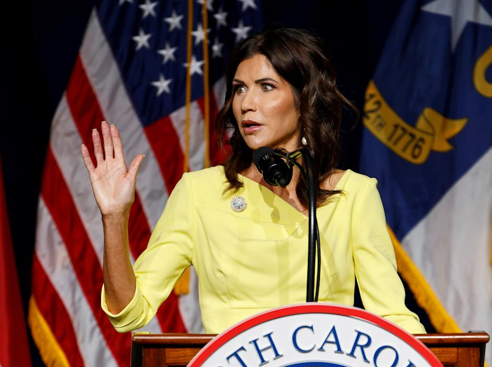 South Dakota Governor Kristi Noem speaks at the North Carolina GOP convention on the day former U.S. President Donald Trump was expected to speak at the gathering in Greenville, North Carolina, U.S. June 5, 2021.  REUTERS/Jonathan Drake