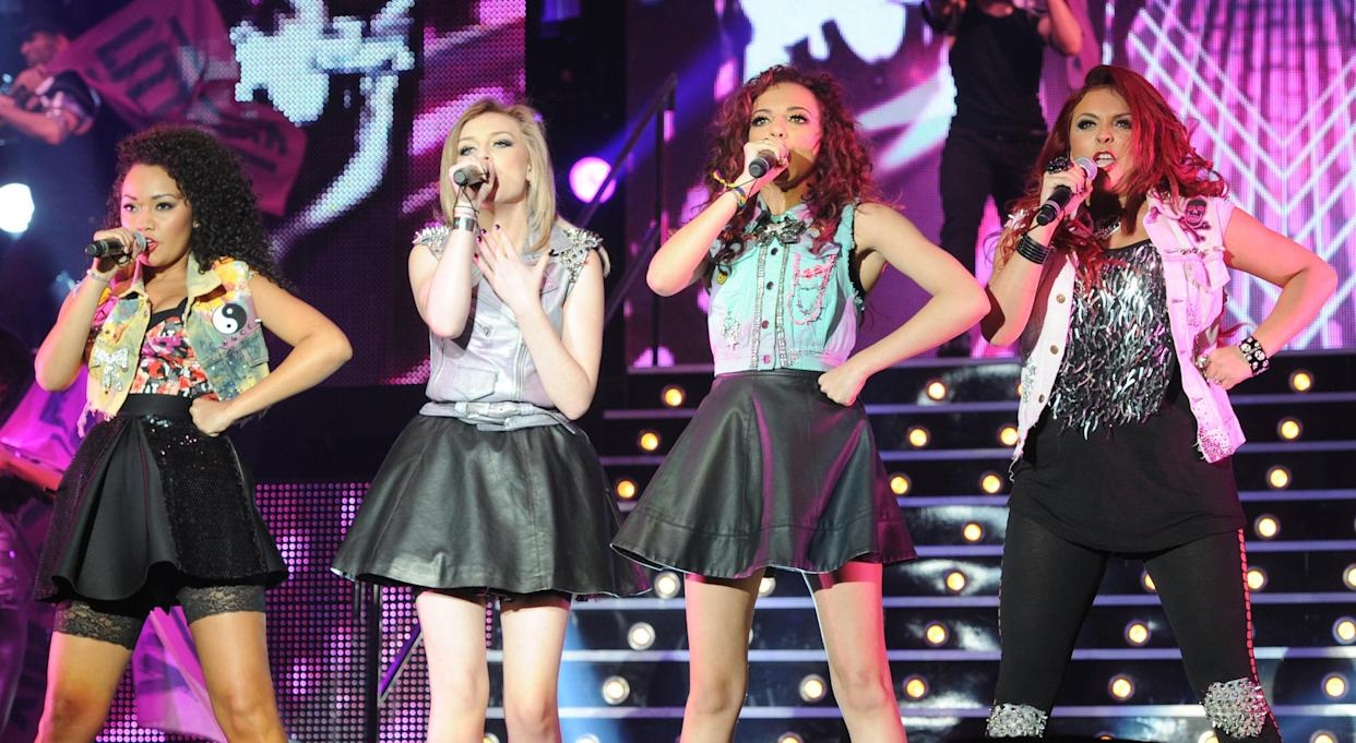 EDITORS PLEASE NOTE RESTRICTIONS: Editorial use only, no merchandise, no use after July 5th, 2012  Little Mix, (left to right) Leigh-Anne Pinnock, Perrie Edwards Jade Thirlwall and Jesy Nelson, perform during the X Factor Live Tour at Wembley Arena, London.
