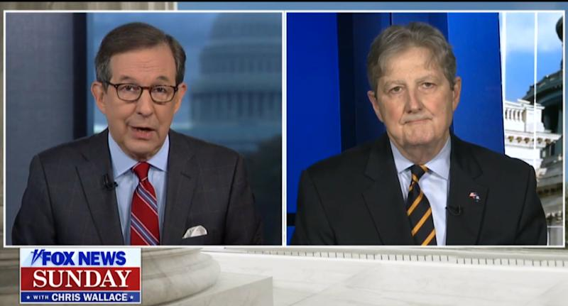 """Fox News Sunday"" host Chris Wallace interviews Louisiana Sen. John Kennedy, a Republican member of the Senate Judiciary Committee. (Photo: Yahoo News)"