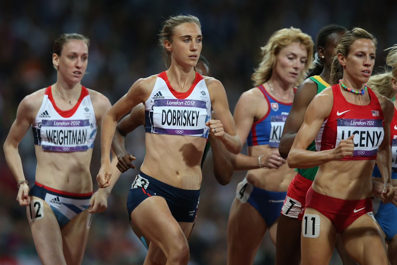 LONDON, ENGLAND - AUGUST 10:  (L-R) Laura Weightman of Great Britain, Lisa Dobriskey of Great Britain and Morgan Uceny of the United States compete in the Women's 1500m Final on Day 14 of the London 2012 Olympic Games at Olympic Stadium on August 10, 2012 in London, England.  (Photo by Clive Brunskill/Getty Images)