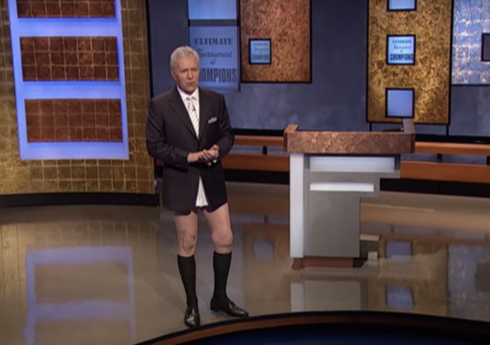Alex Trebek left his trousers backstage in 2005 for laughs. (Photo: YouTube)