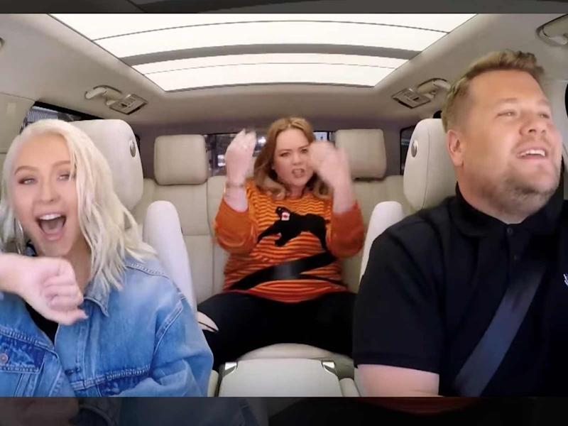 James Corden in the car with Christina Aguilera and Melissa McCarthy