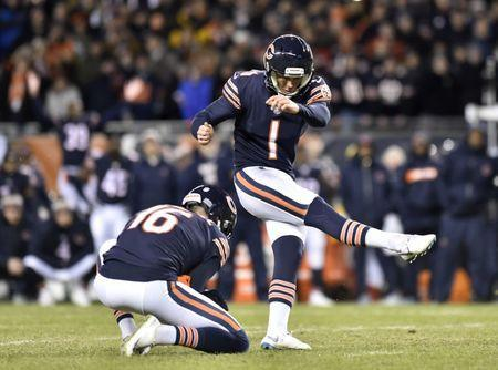 FILE PHOTO - Jan 6, 2019; Chicago, IL, USA; Chicago Bears kicker Cody Parkey (1) misses a field goal in the fourth quarter against the Philadelphia Eagles in a NFC Wild Card playoff football game at Soldier Field. Mandatory Credit: Quinn Harris-USA TODAY Sports