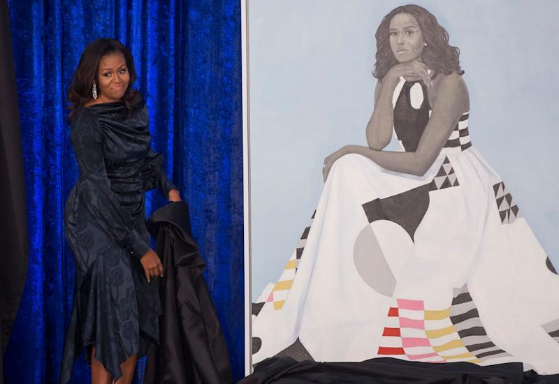 Former first lady Michelle Obama's portrait that will be on display in the National Portrait Gallery. (Photo: Saul Loeb/AFP/Getty Images)