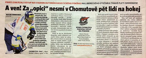 A story in Czech republic newspaper on Wayne Simmonds being subjected to racist chants by fans during a game. (#NickInEurope)