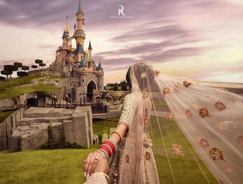 "Varun Bhanot and Anisha Seth, 29 said ""I do"" outside of the world-famous castle [Photo: SWNS]"