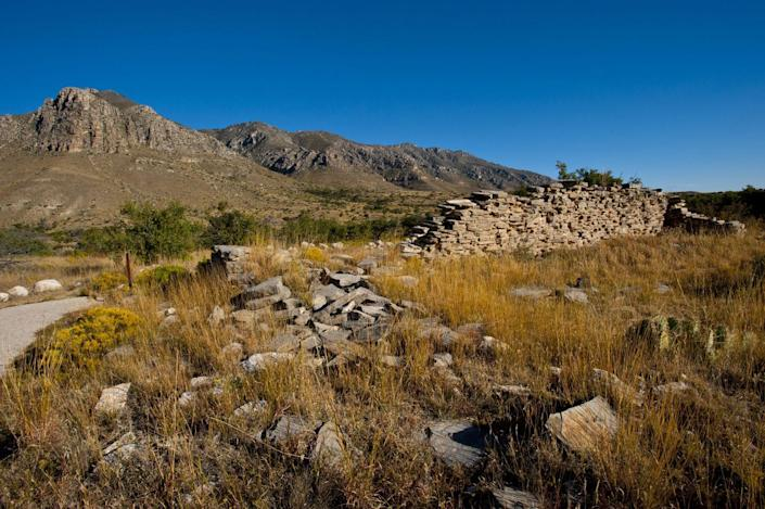 <p>Ruins of the Pinery Station rest at the base of the Guadalupe Mountain National Park, Texas. // November 4, 2010</p>