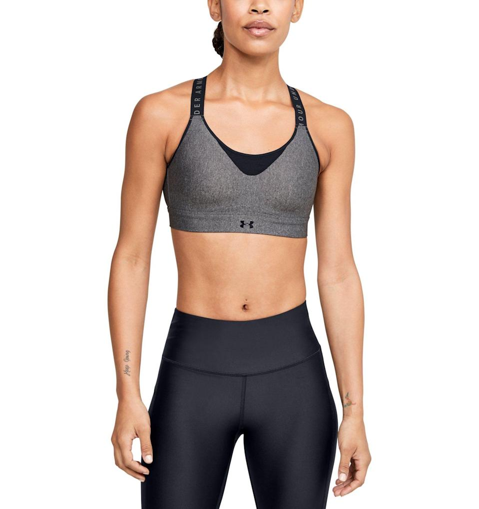 "<p><strong>Under Armour</strong></p><p>underarmour.com</p><p><strong>$60.00</strong></p><p><a href=""https://go.redirectingat.com?id=74968X1596630&url=https%3A%2F%2Fwww.underarmour.com%2Fen-us%2Fua-infinity-high-heather-bra%2Fpid1354315&sref=https%3A%2F%2Fwww.womenshealthmag.com%2Ffitness%2Fg28772847%2Fbest-high-impact-sports-bra%2F"" rel=""nofollow noopener"" target=""_blank"" data-ylk=""slk:Shop Now"" class=""link rapid-noclick-resp"">Shop Now</a></p><p>Under Armour worked with British breast health expert, Dr. Joanna Scurr, at the University of Portsmouth to create a liquid foam, which they inject into the cup space of this sports bra in a figure 8 pattern to mimic the natural movement of breasts in motion. </p><p><strong>Reviewer rave:</strong> ""I'm a 34DD, super active (cyclist, runner, Pilates) mom (these gals have seen better days). I love Under Armour sports bras, but this one is in a new category of love for me. I purchased the medium. The chest band is comfortable, doesn't fold and isn't too tight. I do prefer a snug fit around my boobs to keep them in place, and this bra does that without smooshing them. I've worn it running and on the elliptical and there was no bounce or chafing. I'm buying one (maybe two) in every color. I always find that as soon as I find one I love, the style changes."" <em>—Ms95765, underarmour.com</em></p>"