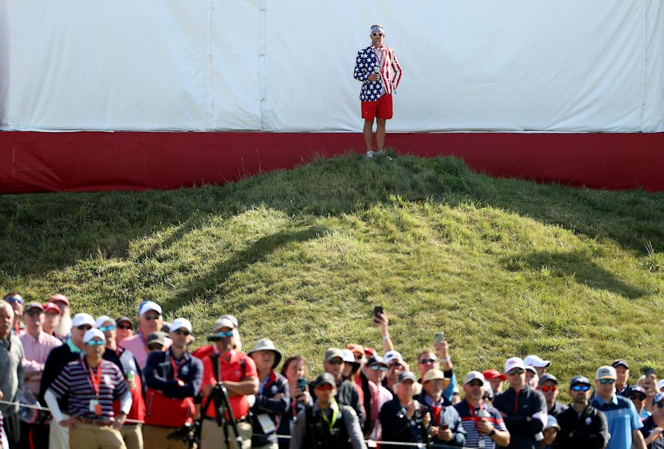 A fan looks on during Friday afternoon Fourball matches