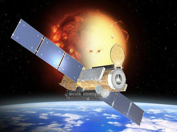 An artist's concept of the Hinode spacecraft in its low orbit around Earth during the sun's uneclipsed activity.