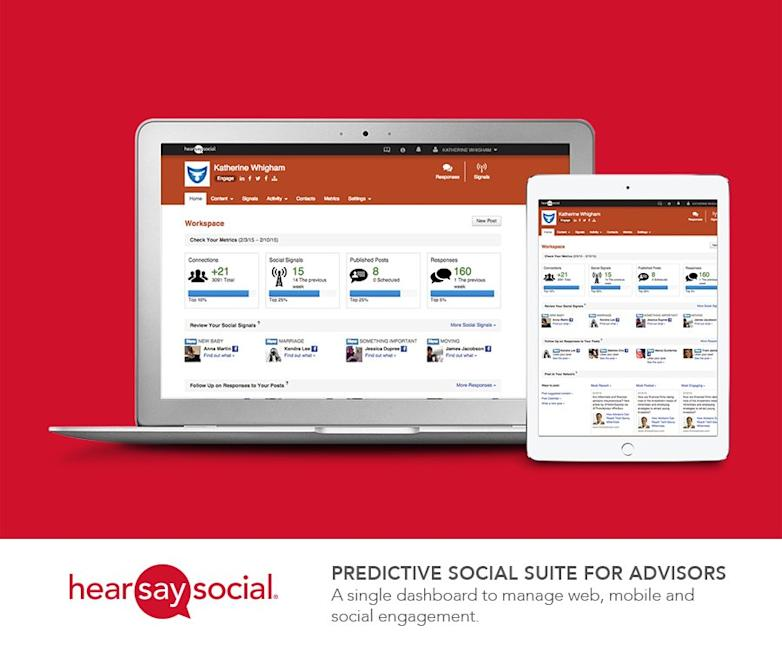 Hearsay Social unveiled the 'Predictive Social Suite' for financial advisors and insurance agents -- a single dashboard to manage web, mobile and social engagement.Click here for high-resolution version