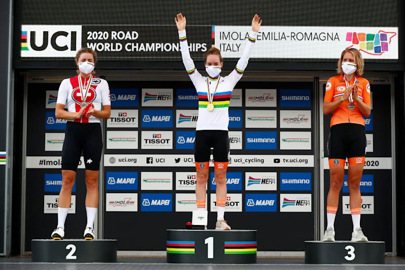 IMOLA ITALY SEPTEMBER 24 Podium Marlen Reusser of Switzerland Silver medal Anna Van Der Breggen of The Netherlands World Champion Jersey Gold medal Ellen Van Dijk of The Netherlands Bronze Medal Celebration Mask during the 93rd UCI Road World Championships 2020 Women Elite Individual Time Trial a 317km stage from Imola to Imola ITT ImolaEr2020 Imola2020 on September 24 2020 in Imola Italy Photo by Bas CzerwinskiGetty Images