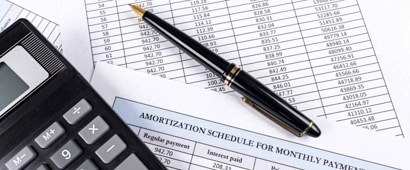 Amortization schedule documents with calculator