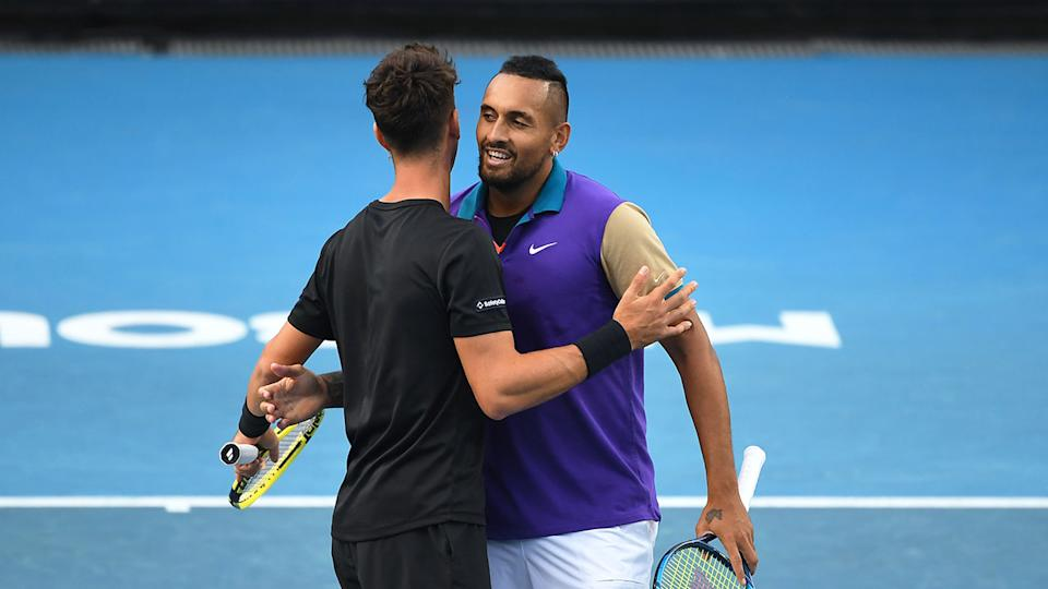 Seen here, Thanasi Kokkinakis and Nick Kyrgios celebrate during their doubles match at the Australian Open.