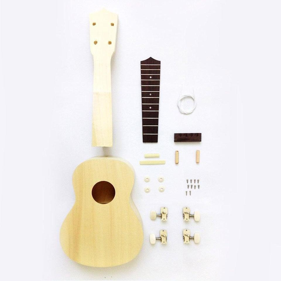 """<p>Before you invest in the electric guitar your tween is begging for, why not let them try their hand at this <span>Zimo Make Your Own Ukulele Kit</span> ($36)? The <a class=""""link rapid-noclick-resp"""" href=""""https://www.popsugar.com/DIY"""" rel=""""nofollow noopener"""" target=""""_blank"""" data-ylk=""""slk:DIY"""">DIY</a> kit includes an unfinished preassembled body, guitar neck, and strings. Once they've put together the four-string guitar, they can customize it with paint or other decorations.</p>"""