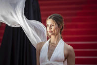 FILE - In this July 7, 2021 file photo Noelle Capri poses for photographers upon arrival at the premiere of the film 'Everything Went Fine' at the 74th international film festival, Cannes, southern France. (Photo by Vianney Le Caer/Invision/AP, File)