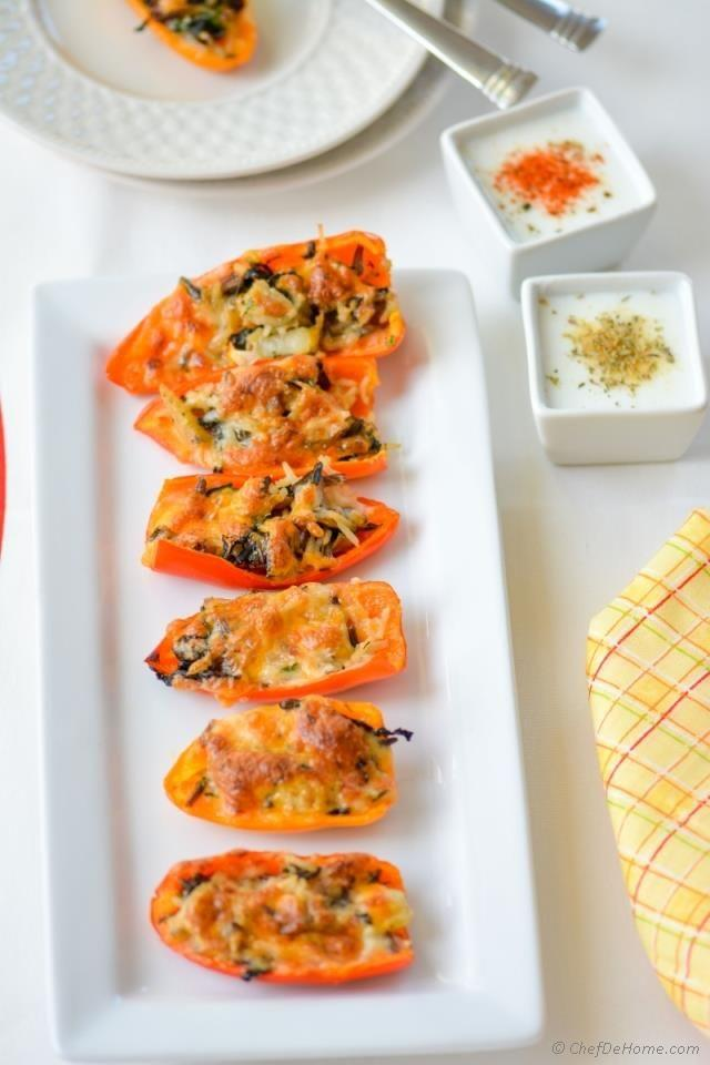 "<p>Peppers are also an appropriate vehicle for leftover carbs, especially when there are multiple dipping sauces involved. </p><p><a href=""http://www.chefdehome.com/Recipes/477/leftover-stuffing-stuffed-sweet-peppers-with-two-kinds-buttermilk-dips"" target=""_blank""><em>Get the recipe from Chef De Home »</em></a></p>"