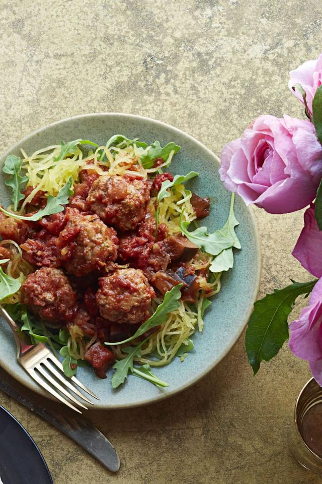 "<p>This lightened-up version of the Italian classic will leave you full, satisfied, and feeling less guilt. </p><p><strong>Get the recipe at <a rel=""nofollow"" href=""https://www.goodhousekeeping.com/food-recipes/a14819/spaghetti-squash-meatballs-recipe-ghk0115/"">Good Housekeeping</a>.</strong></p>"
