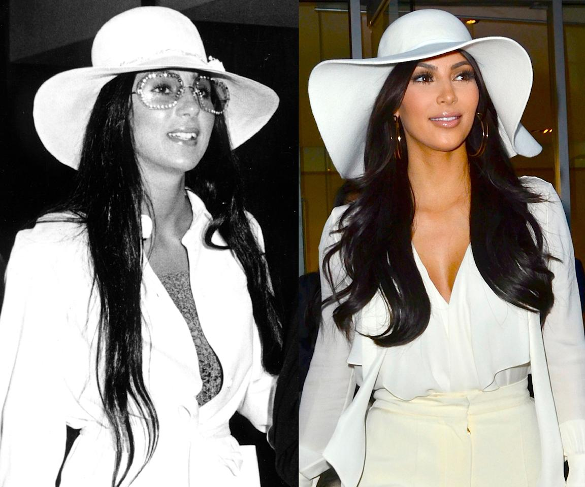 <p>Kim's mood board obviously spans the entirety of Cher's many years in the spotlight. (Photos: Getty Images) </p>