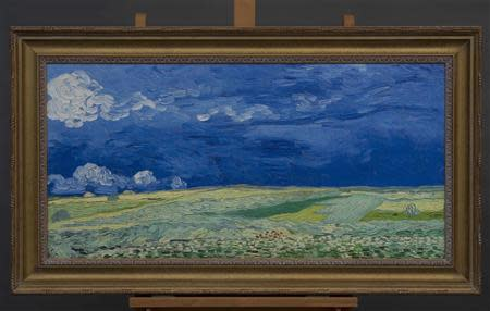 """Handout of a copy of the Vincent Van Gogh painting """"Wheatfield under Thunderclouds"""" (1890) provided by the Van Gogh Museum in Amsterdam"""