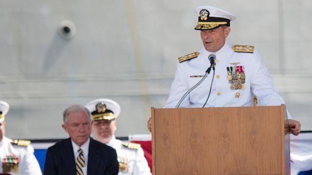 PHOTO: In this Sept. 10, 2016, file photo. Adm. William Moran speaks during the Commissioning of the USS Montgomery in Mobile, Ala. (Albert Cesare/The Montgomery Advertiser via AP, File)