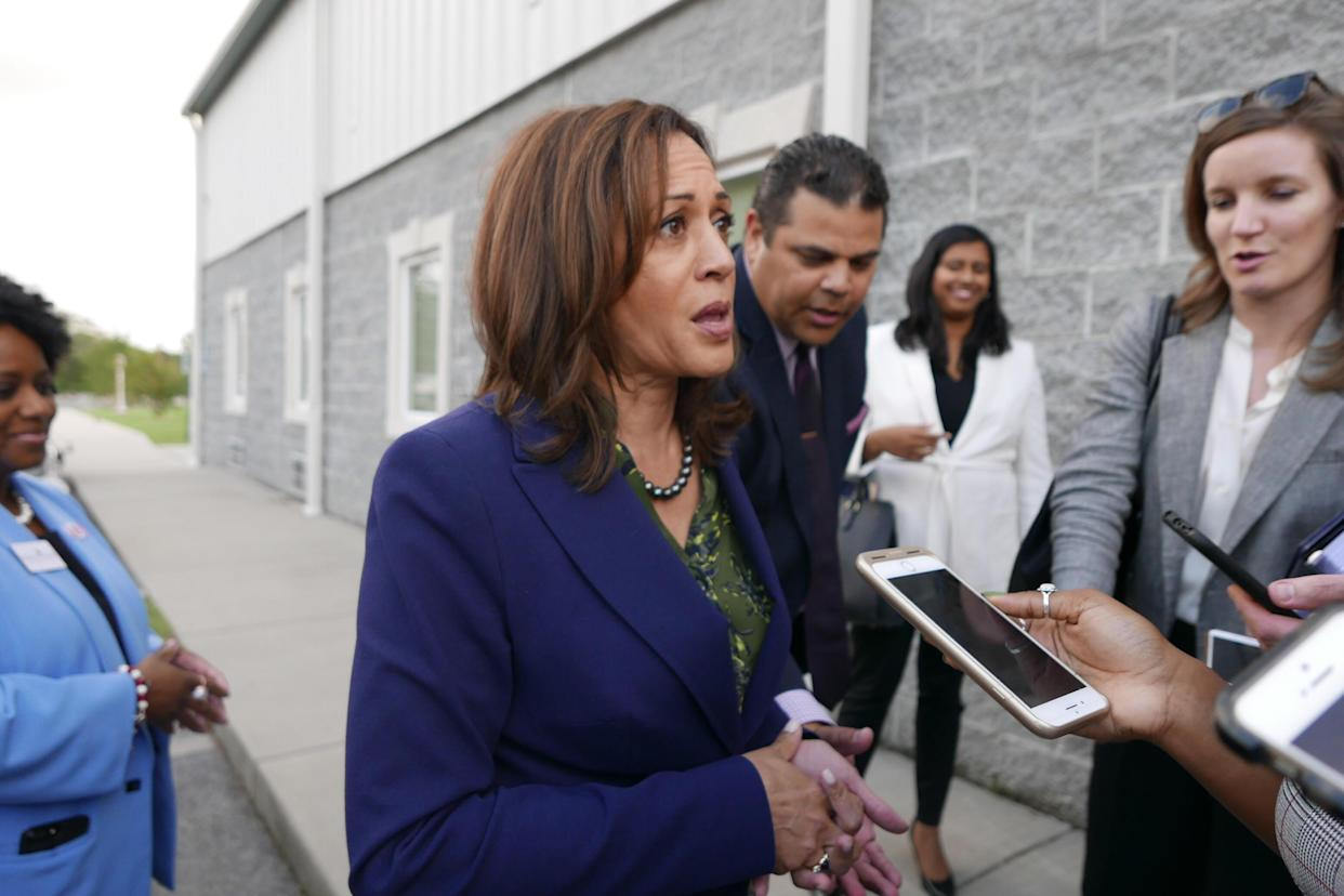 California Sen. Kamala Harris speaks to reporters outside St. John Baptist Church and Holistic Wellness Center in Hopkins, S.C., on Oct. 19, 2018. (Photo: Hunter Walker/Yahoo News)