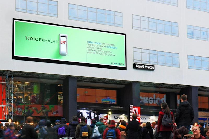 The Breath: The material has been used to make advertising billboards in London