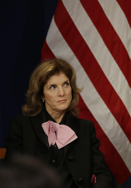 Former U.S. Ambassador to Japan Caroline Kennedy listens as she is introduced at the start of the John F. Kennedy Centennial Symposium at the Harvard Kennedy School Thursday, April 20, 2017, in Cambridge, Mass. The symposium honors the 100th anniversary of President Kennedy's birth focusing on the former president's most important priorities and how they remain relevant today. (AP Photo/Stephan Savoia)