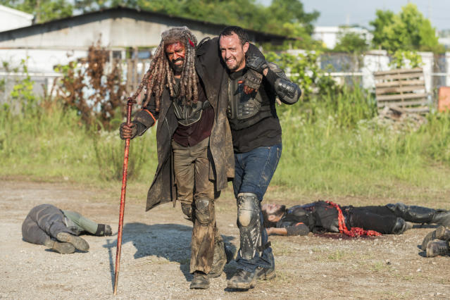 <p>Khary Payton as Ezekiel and Carlos Navarro as Alvaro in AMC's <i>The Walking Dead.><br> (Photo: Gene Page/AMC)</i> </p>