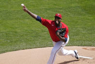 Minnesota Twins' pitcher Michael Pineda throws against the Texas Rangers in the first inning of a baseball game, Thursday, May 6, 2021, in Minneapolis. (AP Photo/Jim Mone)