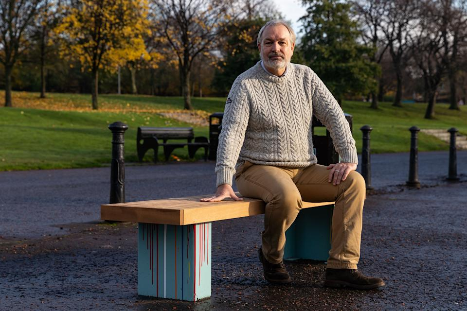 The Bikes for Refugees bench is positioned in Glasgow Green by the Sustrans National Cycle Network (NCN75) path which links Glasgow to Edinburgh