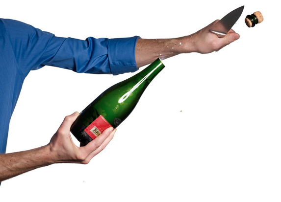 Celebrity Chef Demonstrates How to Open a Champagne Bottle With a Sword