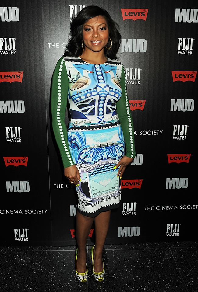 "NEW YORK, NY - APRIL 21:  Actress Taraji P. Henson attends The Cinema Society Screening Of ""Mud"" hosted by Fiji Water and Levis held at The Museum of Modern Art on April 21, 2013 in New York City.  (Photo by Jennifer Graylock/Getty Images)"