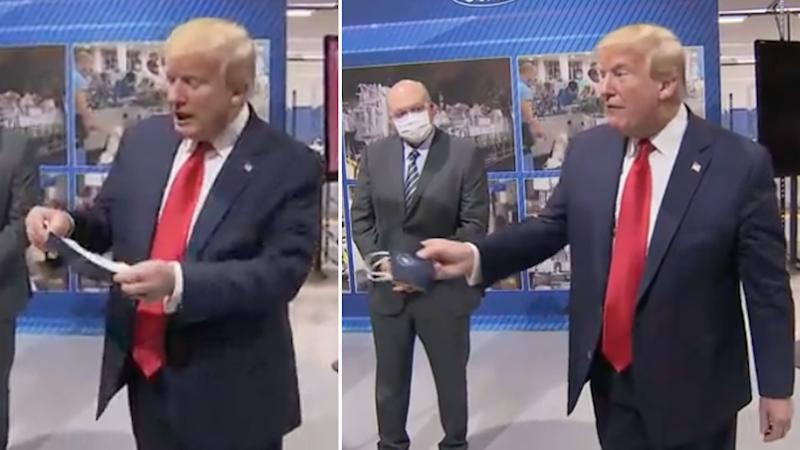 President Donald Trump refusing to wear a face mask.